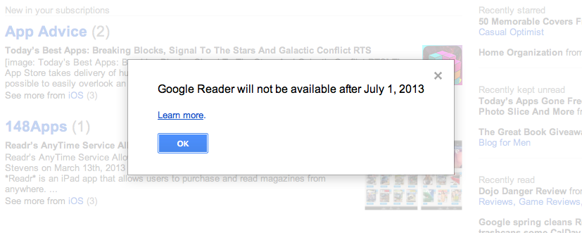 Google To Shut Down Google Reader Along With Other Services