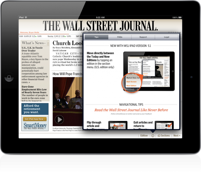 The wall street journal app goes social for Picture on wall app