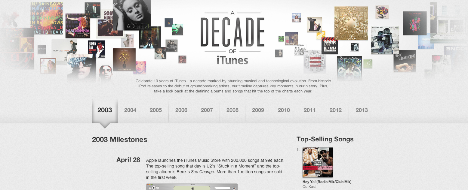 Apple Celebrates The Tenth Anniversary Of The iTunes Store