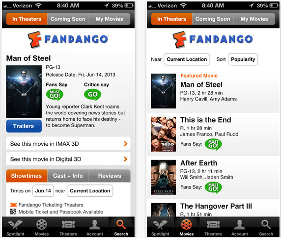 Fandango Gets Improved iPad Support, Faster Ticket Purchasing, And More