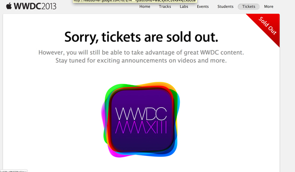 Gone In 120 Seconds: WWDC 2013 Tickets Sold Out