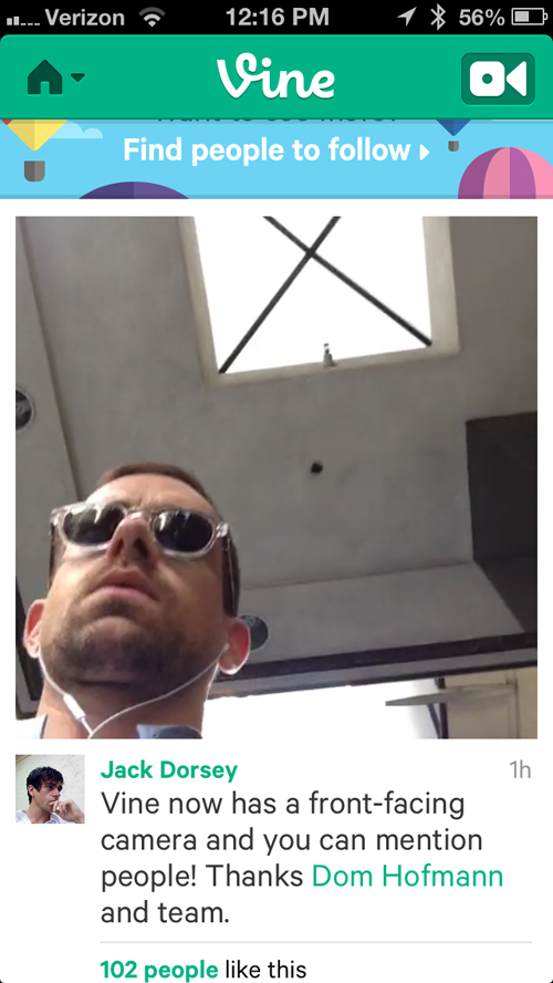 Vine Updated With Front-Facing Camera Support