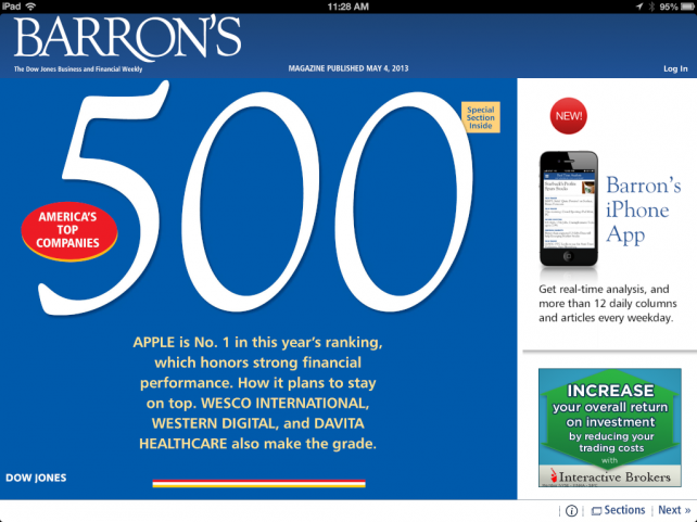 Apple Tops Barron's List Of The Top 500 Companies In The US And Canada