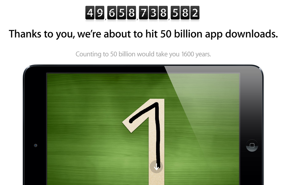 Apple's 50 Billion App Downloads Countdown Moves To Apple.com