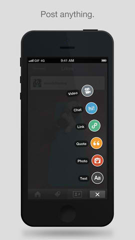 Tumblr For iOS Updated With OS X Fan-Like Post-Type Chooser And App Attribution