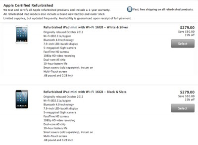 Apple Cuts Prices On Refurbished Fourth-Generation iPad, iPad mini