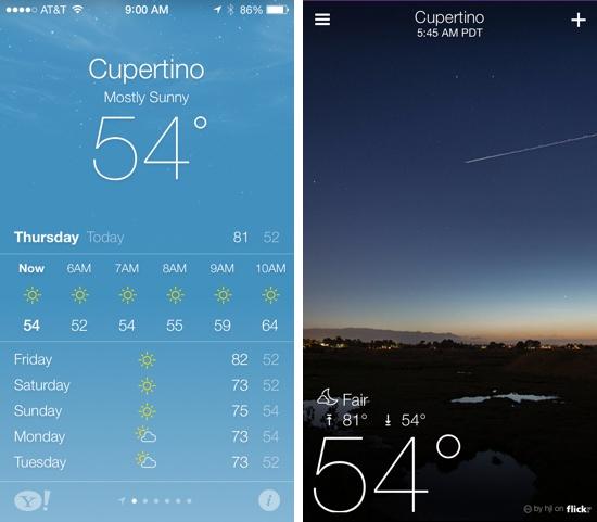Weather app (iOS 7) vs. Yahoo Weather (iOS 6)