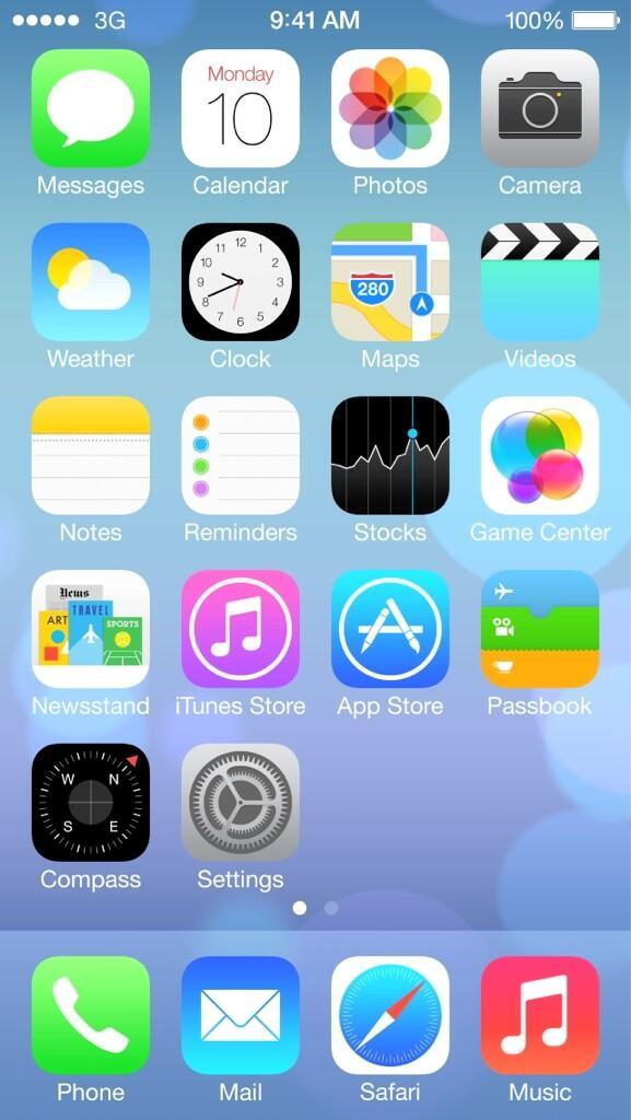 For comparison, here are the icons in iOS 7 beta 1.