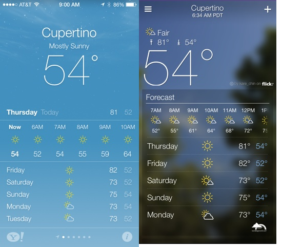 Weather app (iOS 7) vs. Yahoo Weather (second page)