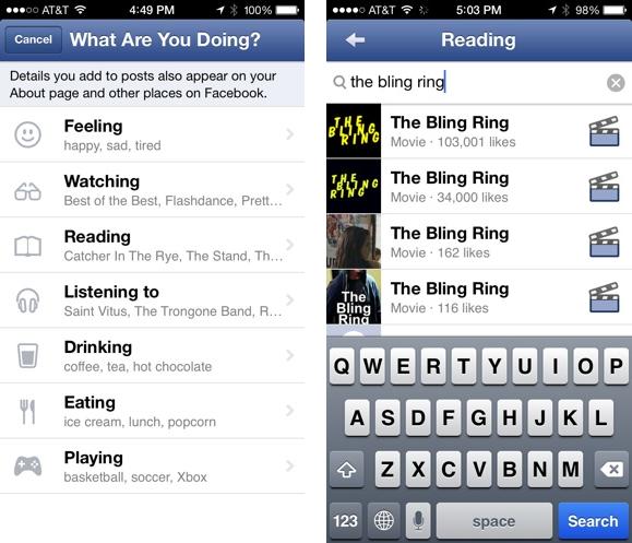 Facebook App Now Includes The Ability To Add Social Icons To Status Updates