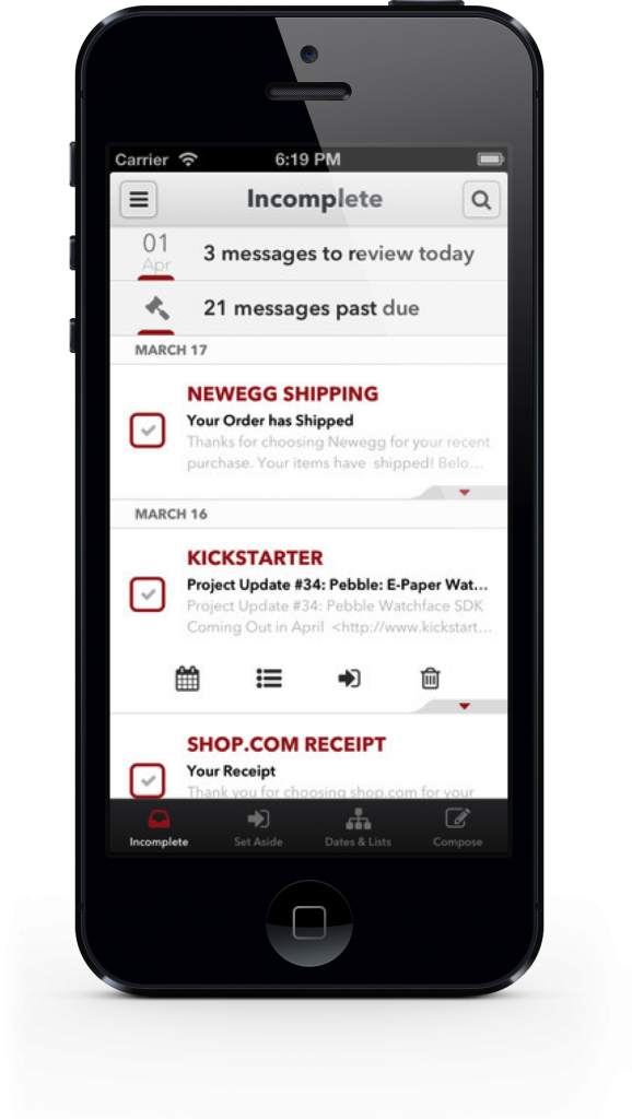 Mail Pilot on iPhone