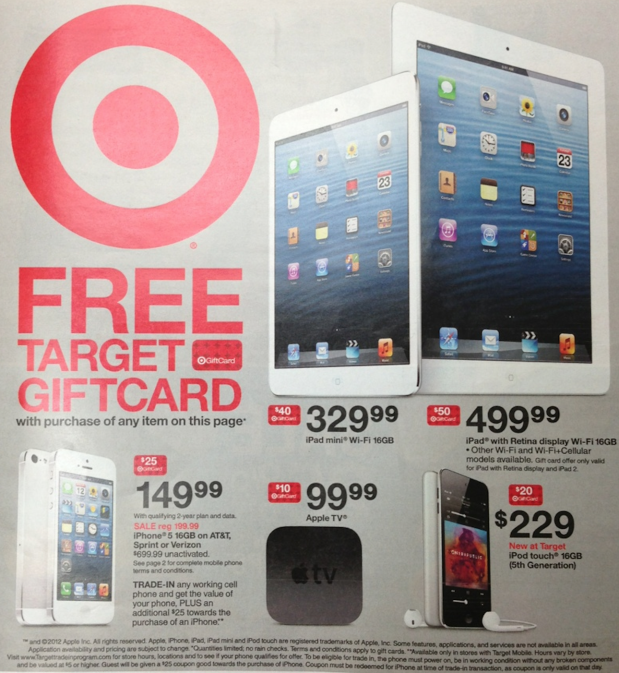 Target Now Offering Free Gift Cards With iDevice, Apple TV Purchases