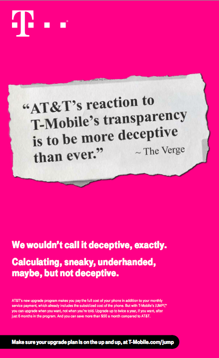 T-Mobile Calls AT&T's Next Service 'Calculating, Sneaky, Underhanded' In Latest Ad