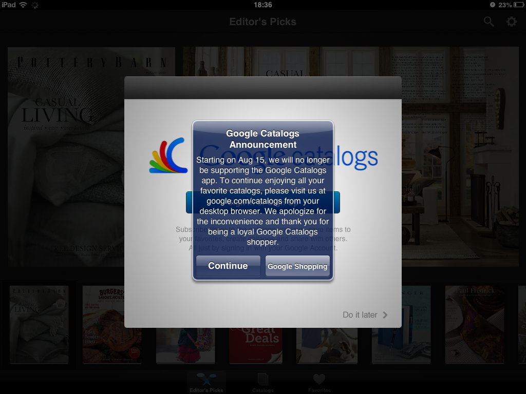 Google Catalogs For iOS And Android To Close Up Shop On Aug. 15, 2 Years After Launch