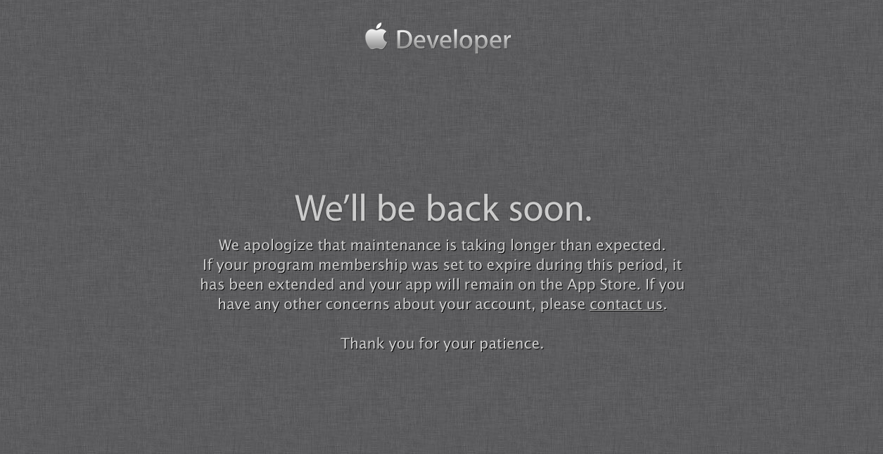 Apple Comments On Developer Portal Outage, Promises To Be Back Soon