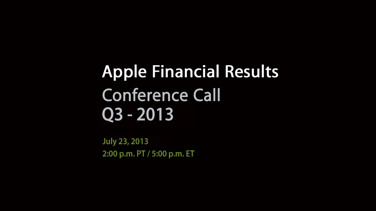 Apple To Webcast Tuesday's June Quarter Earnings Call