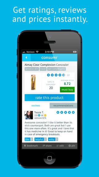Consumr 2.1 Features Average Product Prices, Notifications, Gestures, And More