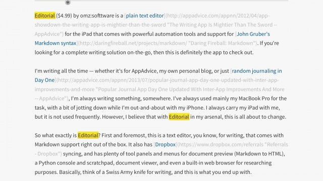 Editorial Is The Swiss Army Knife Of iPad Text Editors