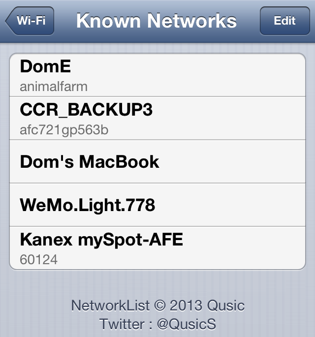 Cydia Tweak: Quickly View Saved Wi-Fi Passwords With NetworkList