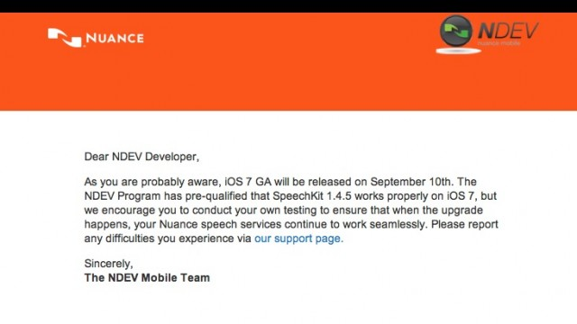 Apple May Publicly Release iOS 7 On Sept. 10, According To Nuance Developer Email