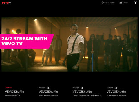 Vevo For iOS Adds AirPlay Support For Vevo TV Ahead Of Apple TV App Launch