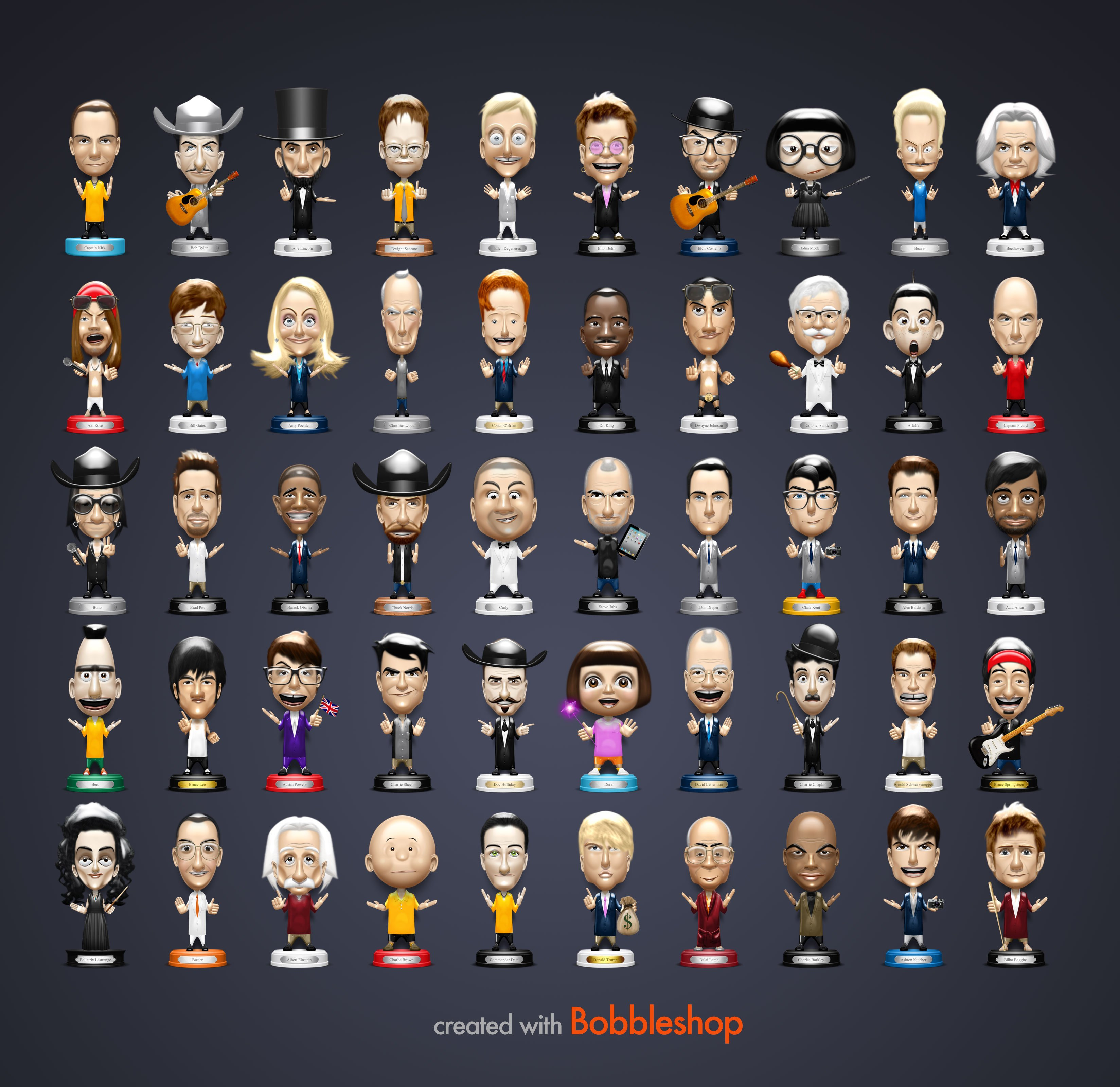 Poster of celebrity bobble heads
