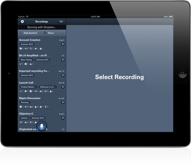 CaptureAudio Now Universal With Dropbox Syncing