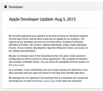 Apple Plans On Restoring All Remaining Developer Site Tools This Week
