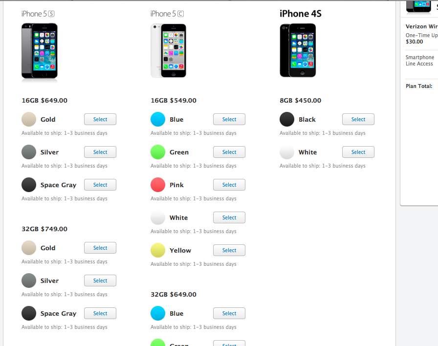 Orders For iPhone 5s, iPhone 5c Launch In The US Apple Online Store