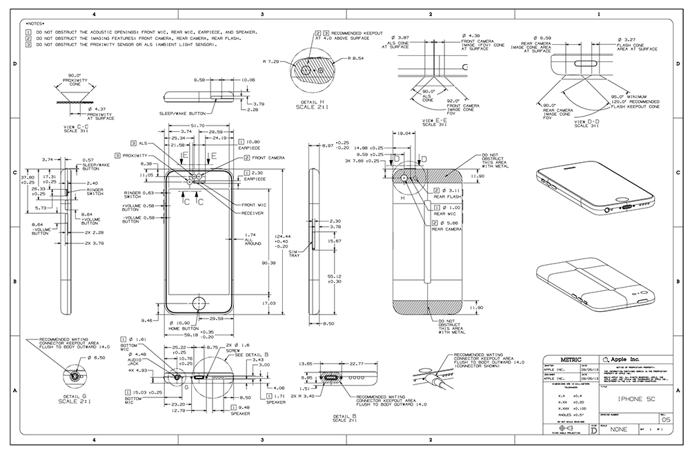 Apple Posts Detailed Iphone 5s Iphone 5c Drawings To
