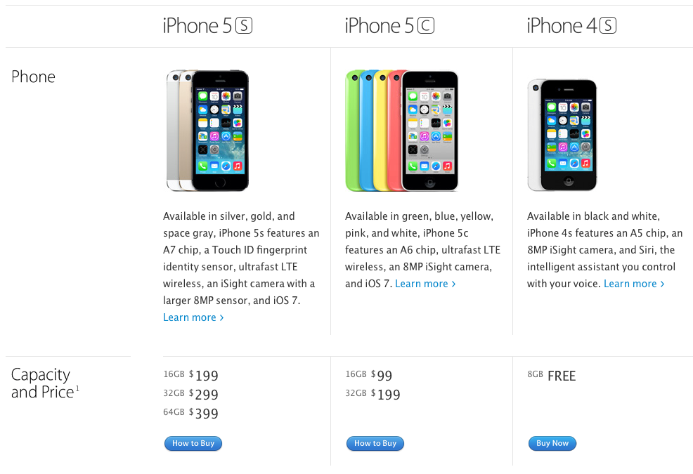 Apple's iPhone comparison page