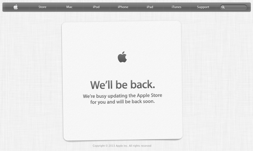 Apple Takes Down Online Store Ahead Of iPhone 5s And iPhone 5c Launch In US