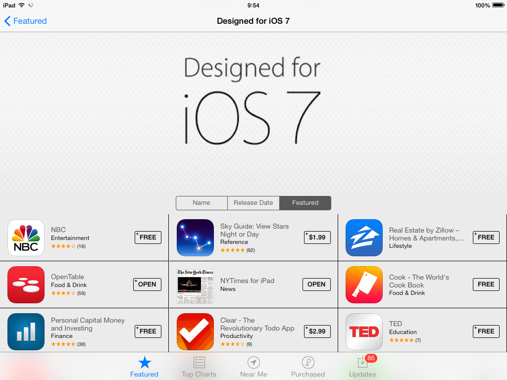 Apple Updates App Store With New Section Featuring Apps That Are 'Designed For iOS 7'