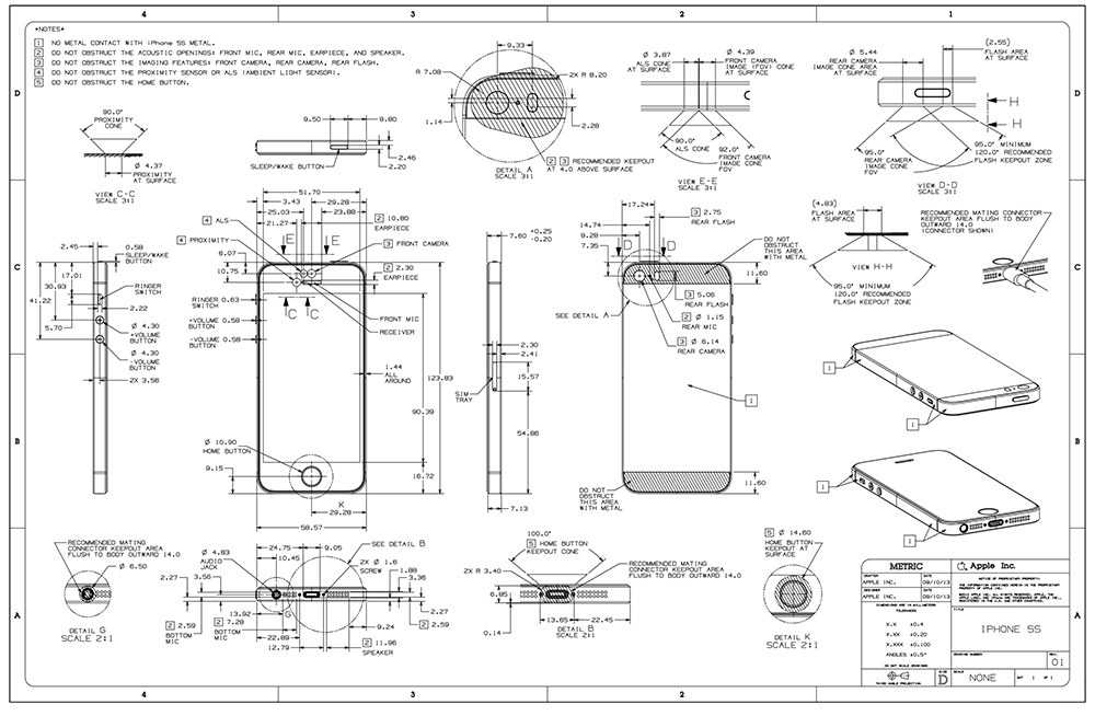 Apple Posts Detailed iPhone 5s, iPhone 5c Drawings To Developer Center