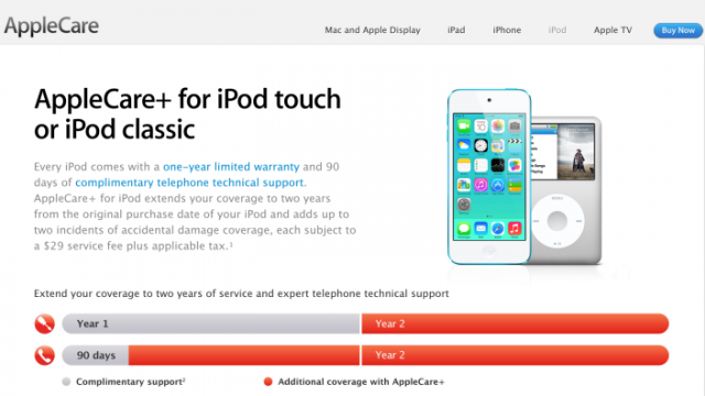 Apple Also Adds AppleCare+ Service For iPod touch, iPod classic