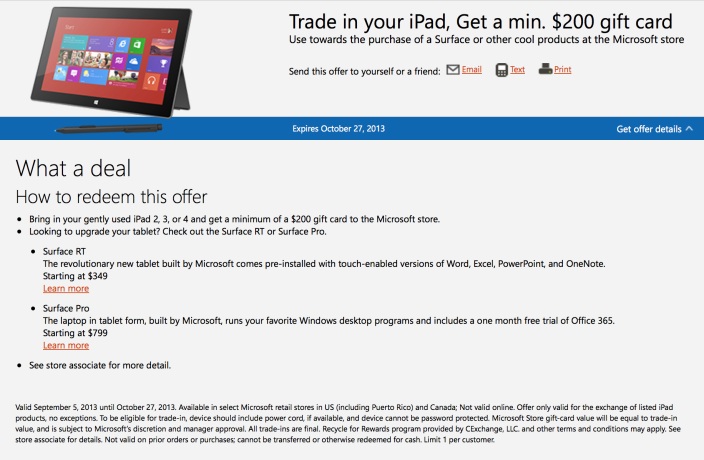Microsoft: Trade In Your iPad, Get $200 Towards A Surface Tablet