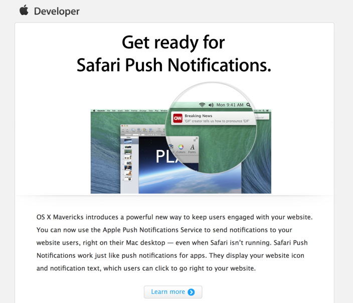 Apple To Enable iOS-Inspired Safari Push Notifications For Developers In OS X Mavericks