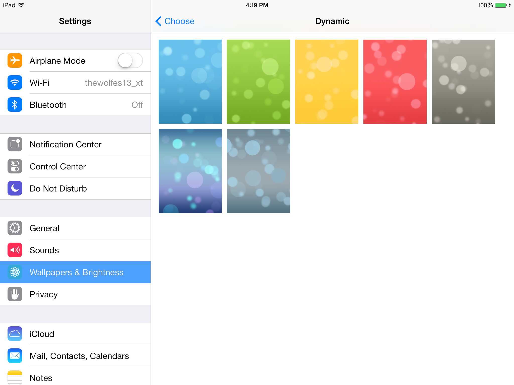 New backgrounds in iOS 7