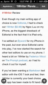 Get An iOS 7 Writing Experience With 1Writer