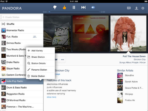 Pandora Radio 5.0 Features iOS 7 UI Adjustments Plus Major Enhancements For iPad