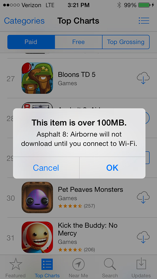 Apple Doubles The App Store Cellular Download Limit To 100MB