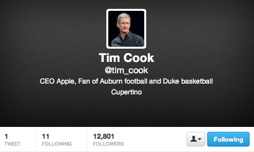 Apple CEO Tim Cook Joins Twitter