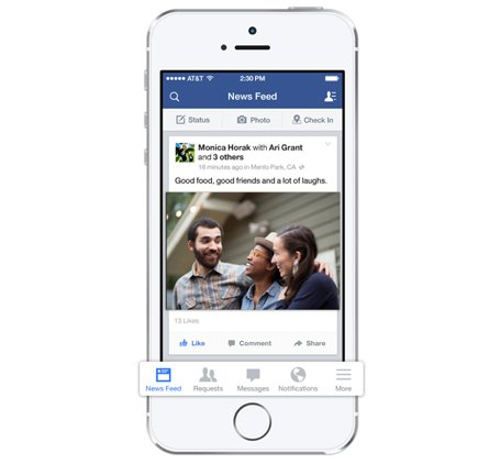 Facebook's iOS 7 Update Features A New Menu Bar