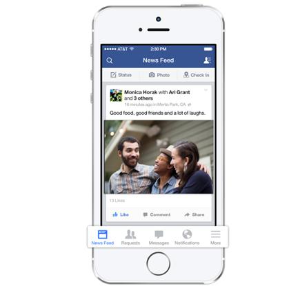 Facebook's iOS 7 Update Features A New Menu Bar