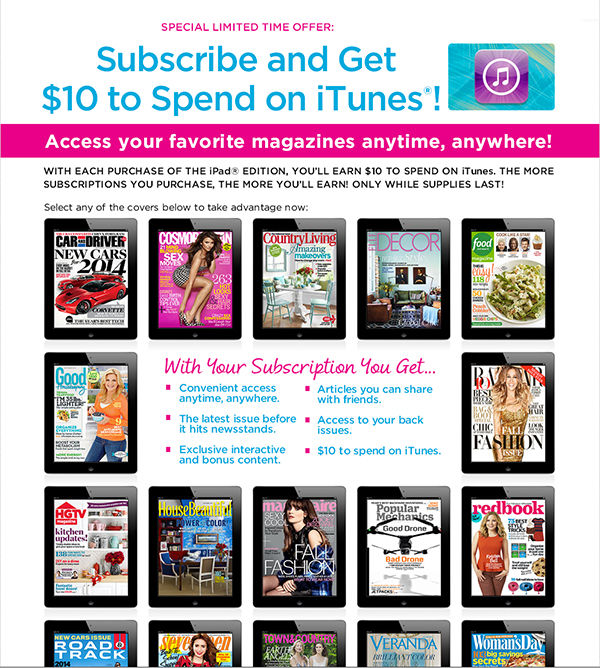Subscribe To A Popular Hearst Magazine And Receive $10 Of iTunes Credit