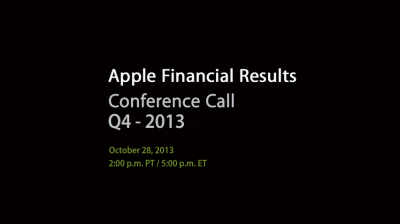 Apple To Conduct Q4 2013 Earnings Conference Call On Oct. 28