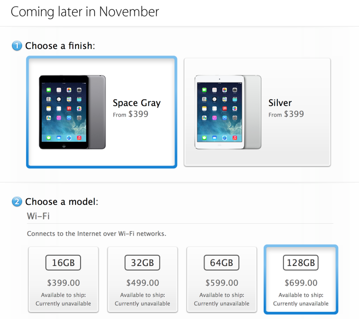 Apple's iPad mini With Retina Display Comes In A 128GB Model