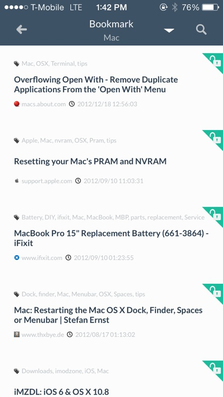 Get The iOS 7 Experience For Your Pinboard Bookmarks With Pincase