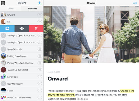 Roon Updated With iOS 7 Design, Rich Markdown Text Editing And iPad Support