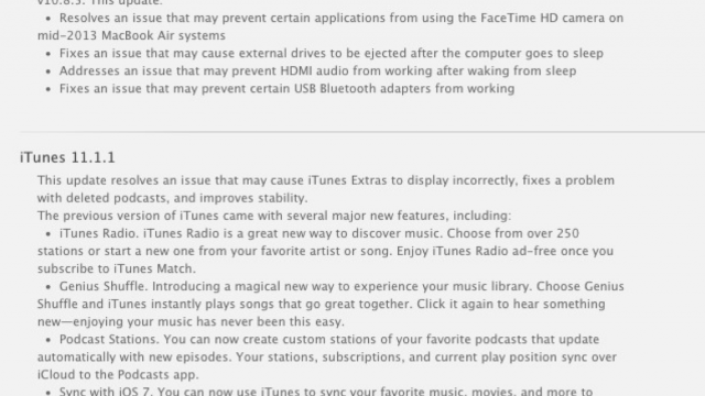 Apple Releases OS X 10.8.5 Supplemental Update And iTunes 11.1.1